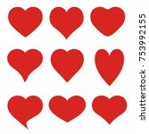 set of red hearts on white... | Shutterstock . vector #753992155