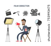film director set. lighting and ... | Shutterstock .eps vector #753993475