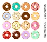 colorful donuts set. tasty... | Shutterstock .eps vector #753993505