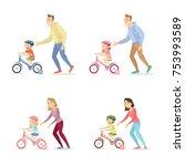 parents teaching children to...   Shutterstock .eps vector #753993589
