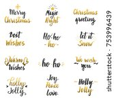 christmas gold wishes. holiday... | Shutterstock .eps vector #753996439