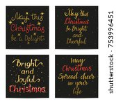 merry christmas gold wishes on... | Shutterstock .eps vector #753996451