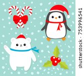 merry christmas icon set. candy ... | Shutterstock .eps vector #753996541