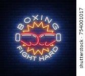 boxing logo  neon sign emblem... | Shutterstock .eps vector #754001017