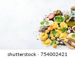 assortment of italian food and... | Shutterstock . vector #754002421