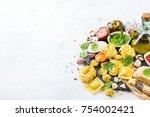 assortment of italian food and... | Shutterstock . vector #754002421