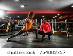 healthy fitness shape young... | Shutterstock . vector #754002757