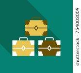 set of wooden chests. open... | Shutterstock .eps vector #754003009
