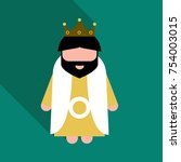 king wearing crown and mantle ... | Shutterstock .eps vector #754003015