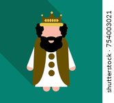 king wearing crown and mantle ... | Shutterstock .eps vector #754003021