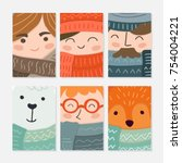 vector greeting cards and... | Shutterstock .eps vector #754004221