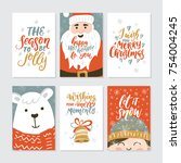 vector merry christmas greeting ... | Shutterstock .eps vector #754004245