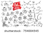 hand drawn christmas elements... | Shutterstock .eps vector #754004545