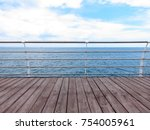 wooden pier with and steel... | Shutterstock . vector #754005961