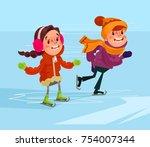 children are skating. vector... | Shutterstock .eps vector #754007344