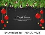 christmas background. red balls ... | Shutterstock .eps vector #754007425