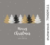 christmas trees scribble... | Shutterstock .eps vector #754009111