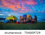 camping of happy asian young... | Shutterstock . vector #754009729