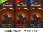 chocolate bar packaging set.... | Shutterstock .eps vector #754011454