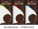 chocolate bar packaging set.... | Shutterstock .eps vector #754011511