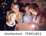picture showing happy family... | Shutterstock . vector #754011811