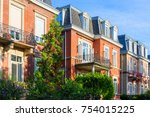 green street in the historic... | Shutterstock . vector #754015225