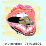 lip. red lips watercolor. red...   Shutterstock .eps vector #754015801