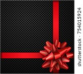 realistic beautiful red bow... | Shutterstock .eps vector #754015924