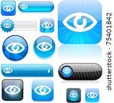 eye blue shiny set of buttons. | Shutterstock . vector #75401842