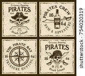 pirates four colored emblems or ... | Shutterstock .eps vector #754020319