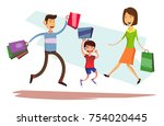 happy jumping family with...   Shutterstock .eps vector #754020445