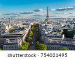 panoramic view of famous eiffel ... | Shutterstock . vector #754021495