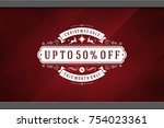 christmas sale sticker label...   Shutterstock .eps vector #754023361