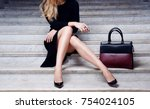 Fashion Model In Black Dress...