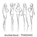 vector fashion girls | Shutterstock .eps vector #75402445