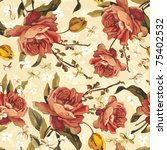vintage floral seamless vector... | Shutterstock .eps vector #75402532