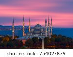the blue mosque   sultanahmet... | Shutterstock . vector #754027879