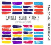 brush strokes set backgrounds.... | Shutterstock .eps vector #754027981