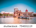 gateway of india at sunny day ... | Shutterstock . vector #754031119