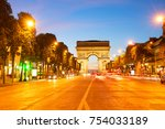 Small photo of Arc de Triomphe and Champ Elysees at night, Paris, France