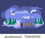 evening winter landscape....   Shutterstock .eps vector #754035955