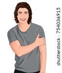 vector illustration of smiling... | Shutterstock .eps vector #754036915