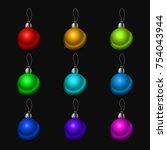 christmas tree decorations...   Shutterstock .eps vector #754043944