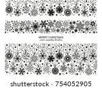 seamless snowflake border set ... | Shutterstock .eps vector #754052905