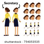 character is a secretary woman. ... | Shutterstock .eps vector #754053535