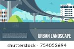 overpass or bridge  in city or... | Shutterstock .eps vector #754053694