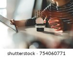 researching about robotic arm | Shutterstock . vector #754060771