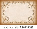 old frame with the blacked out... | Shutterstock .eps vector #754063681