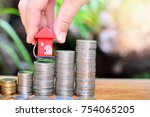 hose model putting on coins... | Shutterstock . vector #754065205