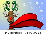 christmas reindeer golf   Shutterstock .eps vector #754069315